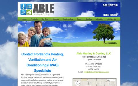 Screenshot of Contact Page ableheatingandcooling.com - Portland Furnace Installation - Contact Us - Able Heating & Cooling - captured Oct. 4, 2014