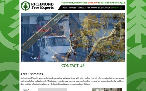 Screenshot of Contact Page richmondtree.net - Call Richmond Tree Experts for Tree Service Estimates in Atlanta - captured Oct. 7, 2014