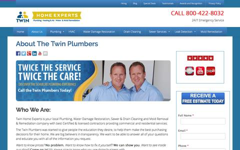 Screenshot of About Page thetwinplumbers.com - About us | The Twin Plumbers - captured Feb. 28, 2016