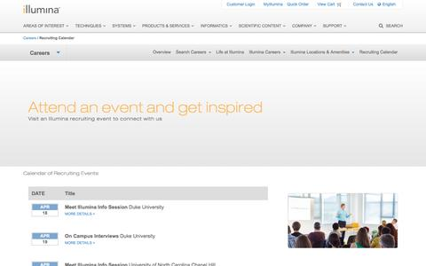 Screenshot of illumina.com - Illumina Recruiting | Events calendar - captured April 19, 2016