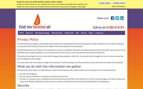 Screenshot of Privacy Page findmyheatingoil.co.uk - Privacy Policy - 18th December 2012  - Discounted Home Heating Oil - captured Sept. 30, 2014