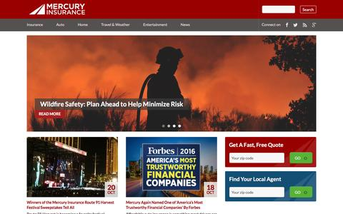 Screenshot of Blog mercuryinsurance.com - Mercury Insurance Group - News You Can Use - captured Oct. 21, 2016