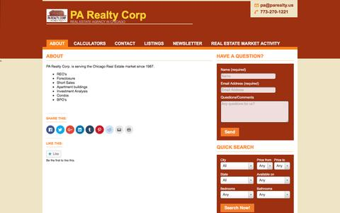 Screenshot of About Page parealty.us captured Oct. 4, 2016