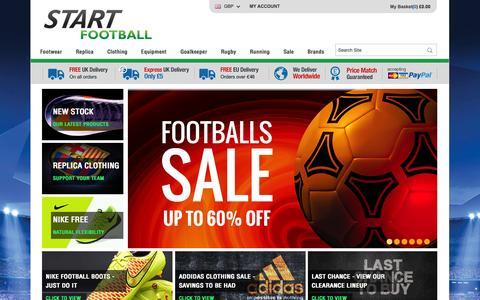 Screenshot of Home Page startfootball.co.uk - Football Kits | Football Boots | Goalkeeper Gloves | Footballs | Start Football - captured Sept. 23, 2014