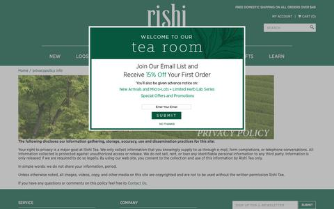 Rishi Tea Privacy Policy