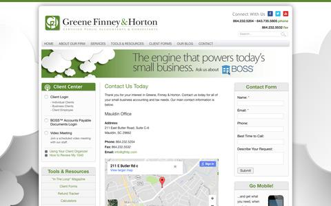 Screenshot of Contact Page gfhllp.com - Contact Us Today | Greene, Finney & Horton | Greenville, SC - captured Sept. 22, 2017