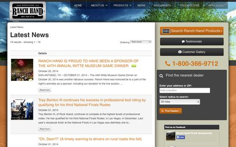 Screenshot of Press Page ranchhand.com - Latest News - captured Oct. 26, 2014