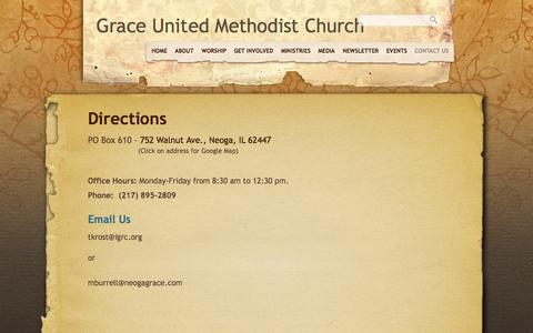 Screenshot of Contact Page neogagrace.com - Contact Us «  Grace United Methodist Church - captured Oct. 7, 2014