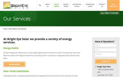 Screenshot of Services Page brighteyesolar.com - Solar Energy Services | Bright Eye Solar - captured June 3, 2017