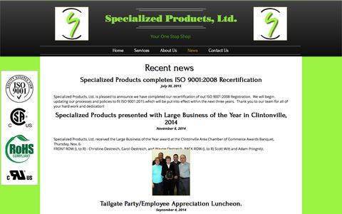 Screenshot of Press Page specializedproductsltd.com - Specialized Products, Ltd. | News - captured Dec. 21, 2016