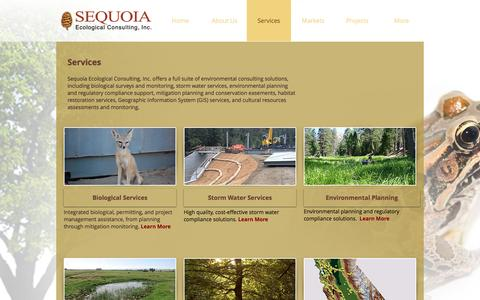 Screenshot of Services Page sequoiaeco.com - Sequoia Ecological Consulting, Inc - Services - captured Nov. 29, 2016