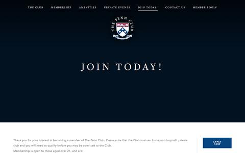 Screenshot of Signup Page pennclub.org - Join Today! - Penn Club of New York - captured Oct. 31, 2016