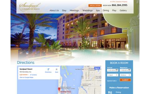 Screenshot of Maps & Directions Page sandpearl.com - Find the Way to Paradise | Directions | Sandpearl Resort - captured Oct. 31, 2014