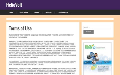 Screenshot of Terms Page heliovolt.net - Terms of Use - captured Feb. 21, 2016