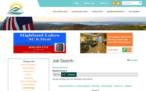 Screenshot of Jobs Page canyonlakechamber.com - Job Search - Canyon Lake Area Chamber of Commerce & Visitor Center, TX - captured Oct. 21, 2018