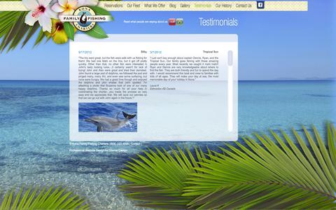 Screenshot of Testimonials Page konafamilyfishing.com - Testimonials - captured Oct. 6, 2014