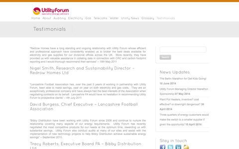 Screenshot of Testimonials Page theutilityforum.co.uk - Testimonials - Utility Forum - captured Sept. 30, 2014