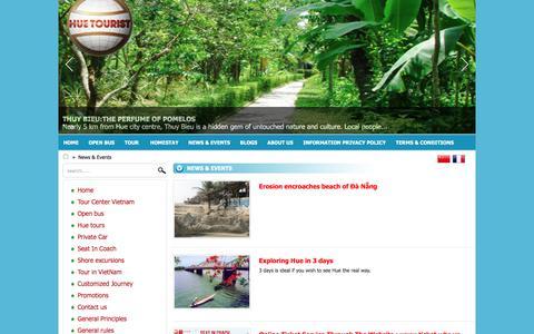Screenshot of Press Page huetouristvietnam.com - News & Events - captured July 13, 2018