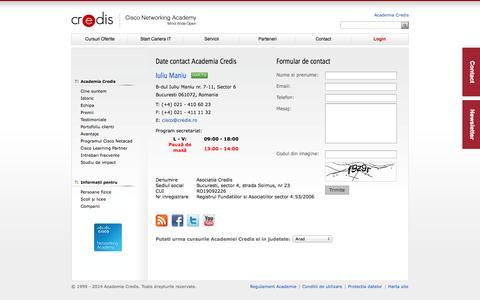 Screenshot of Contact Page academiacredis.ro - Contact - Academia Credis - captured Oct. 3, 2014