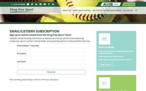 Screenshot of Signup Page drugfreesport.com - Email/Listserv Subscription | Drug Free Sport - captured Oct. 23, 2017