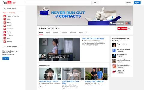 Screenshot of YouTube Page youtube.com - 1-800 CONTACTS  - YouTube - captured Oct. 26, 2014