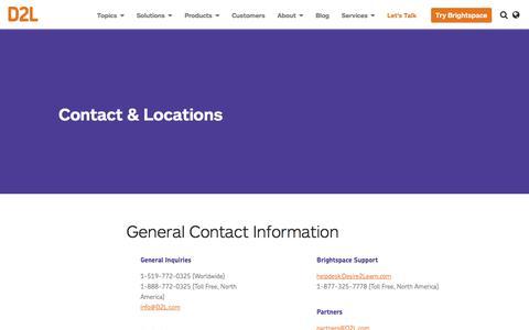 Screenshot of Locations Page d2l.com - Contact & Locations | D2L - captured Sept. 18, 2016