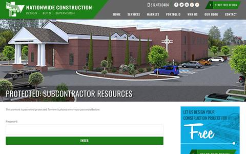 Screenshot of Login Page nationwideconstruction.us - Subcontractor Resources | Nationwide Construction - captured Dec. 10, 2018