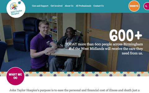 Screenshot of Home Page johntaylorhospice.org.uk - Welcome To John Taylor Hospice - Hospice Service & Care - Birmingham - captured Sept. 7, 2015