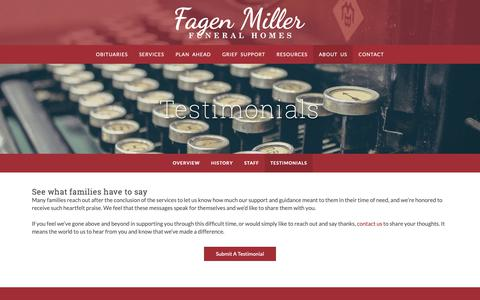 Screenshot of Testimonials Page fagenmiller.com - Fagen Miller Funeral Homes | Highland, St. John, Dyer & Griffith, IN - captured Nov. 1, 2018