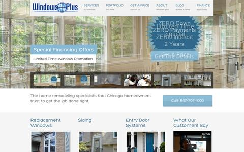 Screenshot of Home Page replacementwindowsanddoors.com - Windows - Door and Siding Contractor   Windows Plus Arlington Heights IL - captured Oct. 6, 2014