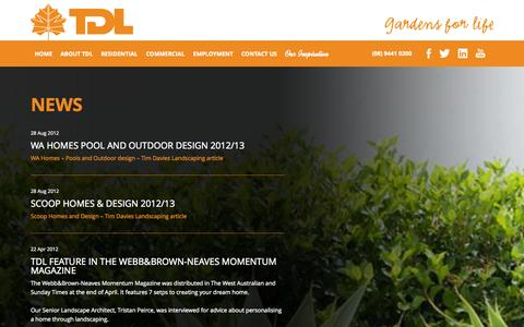 Screenshot of Press Page tdl.com.au - News | Tim Davies Landscaping - captured Oct. 7, 2014