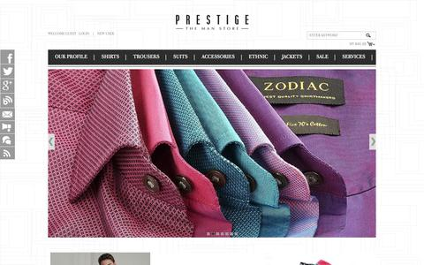 Screenshot of Home Page prestigethemanstore.com - Online Mens Clothes Shopping India - Shop Online Mens Clothing - captured June 17, 2015
