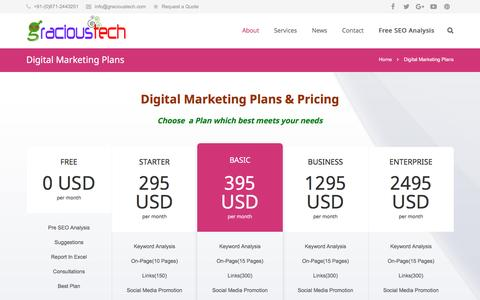 Screenshot of Pricing Page gracioustech.com - Plans and Pricing of Gracioustech services - captured Feb. 1, 2016