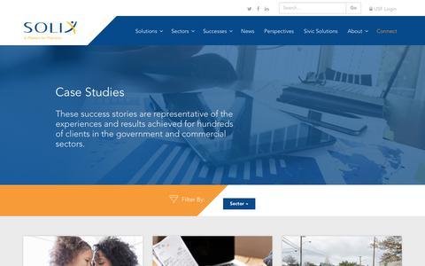 Screenshot of Case Studies Page solixinc.com - Solix - Case Studies - captured Sept. 21, 2018