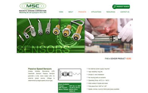 Screenshot of Products Page magsensors.com - Magnetic Speed Sensors and Proximity Switches - captured Oct. 5, 2017