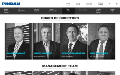 Screenshot of Team Page pindan.com.au - Property investments + managed funds backed by industry giants | Pindan Capital - captured July 18, 2018