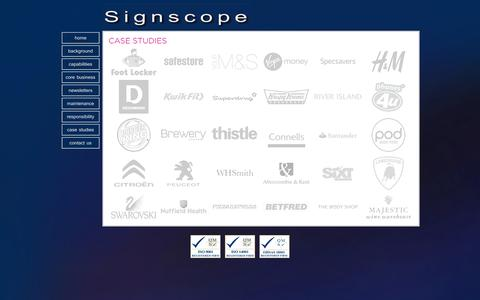 Screenshot of Case Studies Page signscope.com - Signscope Limited - Case Studies - captured Feb. 4, 2016