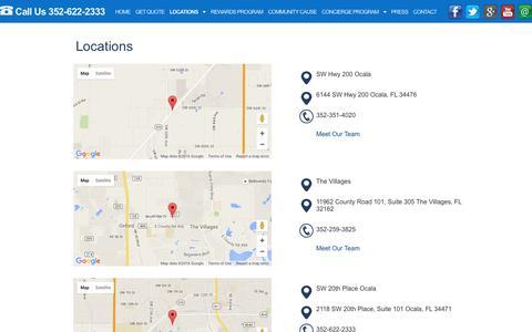 Screenshot of Locations Page themcdonaldagency.com - Locations - The McDonald Agency - captured Jan. 11, 2016
