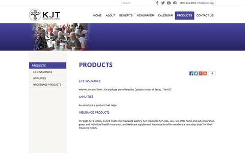 Screenshot of Products Page kjtnet.org - PRODUCTS - Catholic Union of Texas, The KJT - La Grange, TX - captured Oct. 10, 2014