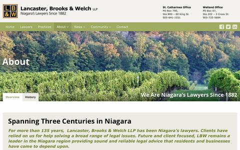 Screenshot of About Page lbwlawyers.com - About - Lancaster, Brooks & Welch LLP - captured July 14, 2017
