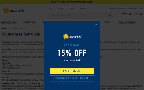 Screenshot of Support Page renewlife.com - Customer Service - captured Nov. 12, 2018