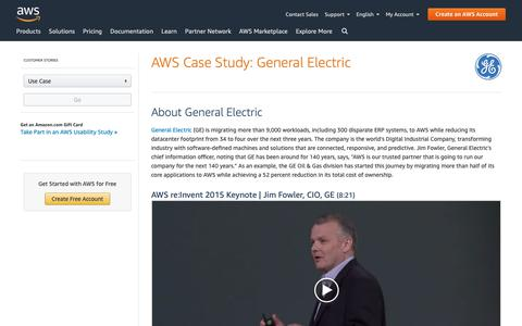 Screenshot of Case Studies Page amazon.com - AWS Case Study: General Electric's Digital Transformation - captured May 8, 2019