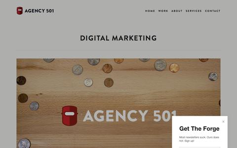 Screenshot of Services Page agency501.com - Digital Marketing | Little Rock Advertising Agency | Agency501 | Little Rock Advertising Agency - captured July 29, 2018