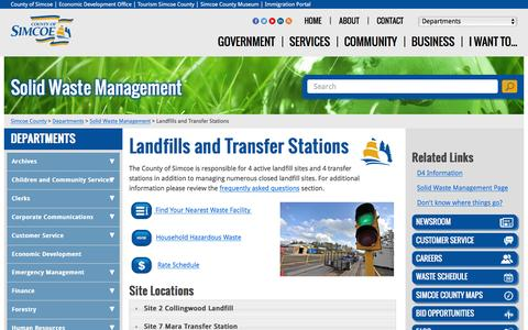 Screenshot of Locations Page simcoe.ca - Landfills and Transfer Stations              -              Solid Waste Management - captured Jan. 21, 2016