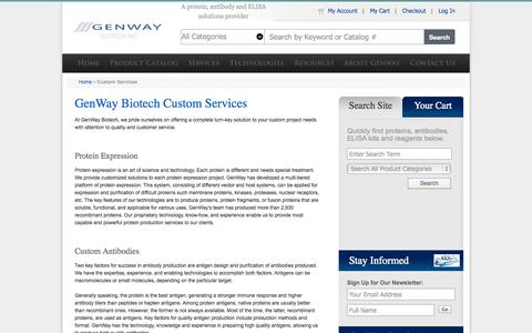 Screenshot of Services Page genwaybio.com - Custom Services - captured Oct. 2, 2014