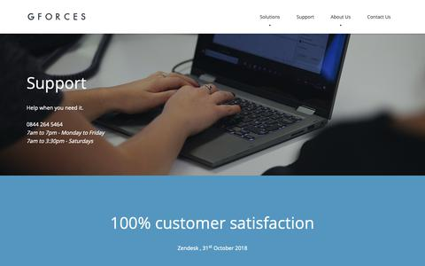 Screenshot of Support Page gforces.co.uk - Automotive Software Support - GForces - captured Dec. 7, 2018