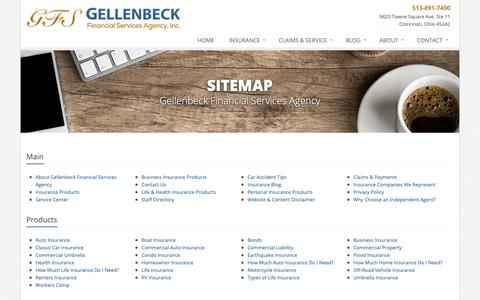Screenshot of Site Map Page gellenbeckinsurance.com - Insurance Website Sitemap | Gellenbeck Financial Services Agency - captured Sept. 27, 2018