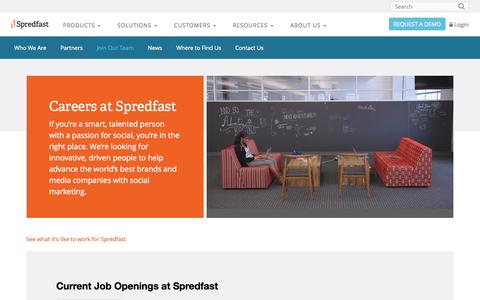 Screenshot of Jobs Page spredfast.com - Social Jobs @ Spredfast | Voted 1 of the Best in Austin - captured Oct. 14, 2015
