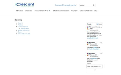 Screenshot of Site Map Page crescentpharma.com - Sitemap | Crescent Pharma - captured Oct. 3, 2014