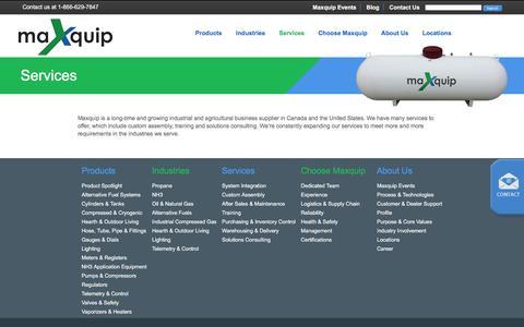 Screenshot of Services Page maxquip.ca - Industrial and Agricultural Business Supplier | Maxquip - captured Feb. 12, 2016